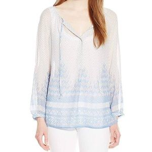 Lucky brand front tie neck blouse